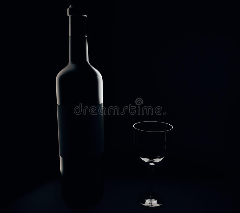 Wine bottle and glass silhouettes. On black background. 3D Rendering vector illustration