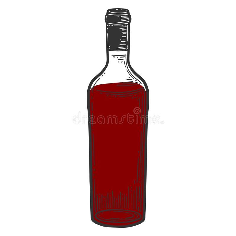 Wine bottle, glass. Vector in doodle and sketch style. Isolated on white background, alcohol, art, beverage, blank, booze, cap, cartoon, clean, clear, clip vector illustration