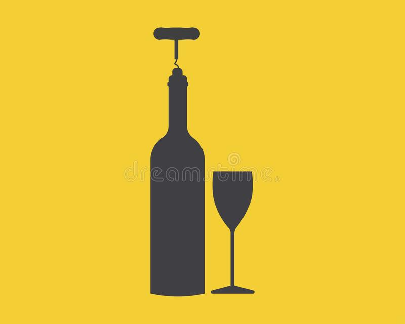 Wine bottle with a glass. Simple vector illustration. Silhouettes of a bottle of wine and a glass on a yellow background royalty free illustration