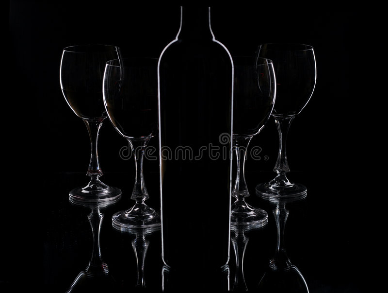 Download Wine bottle and glasses stock image. Image of artistic - 4881465