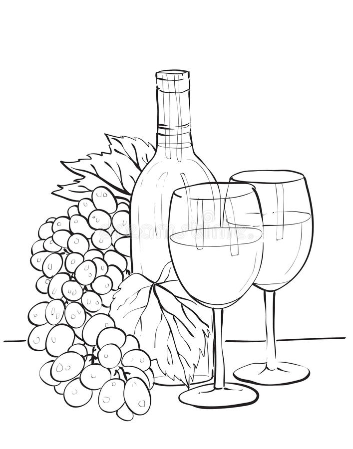 Wine bottle glasses and grapes stock vector for How to draw on wine glasses