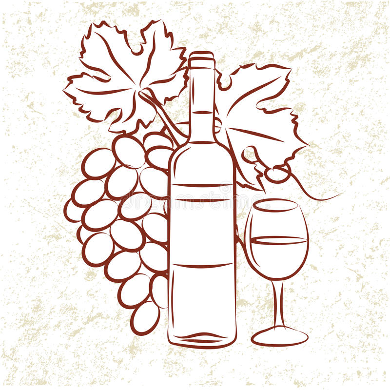 Wine Bottle and Grapes stock illustration