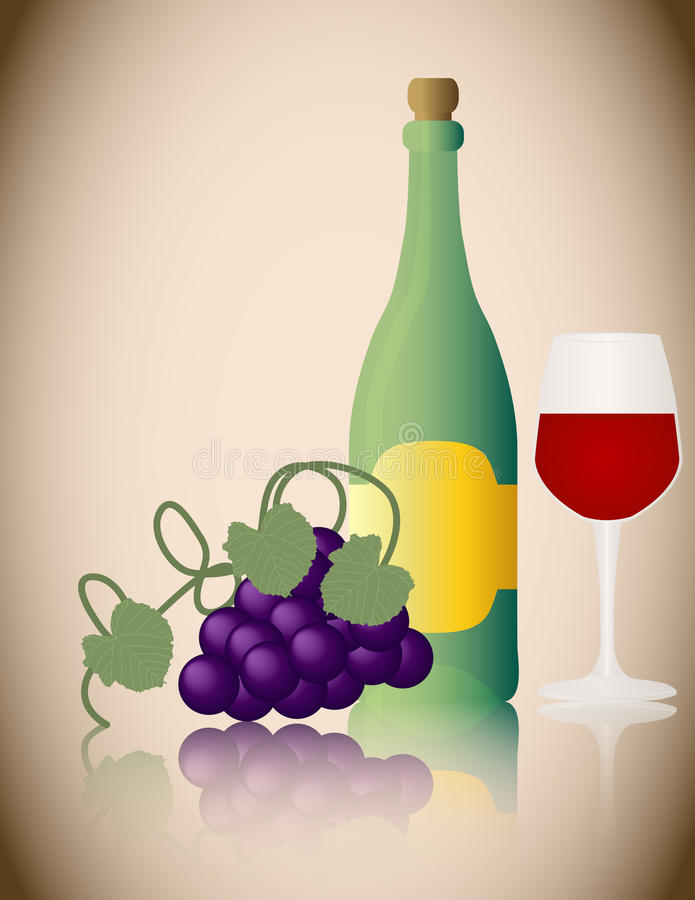 Download Wine Bottle With Grapes And Glass Stock Vector - Image: 17056847