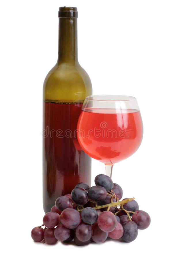 Wine bottle and grapes on white stock photo