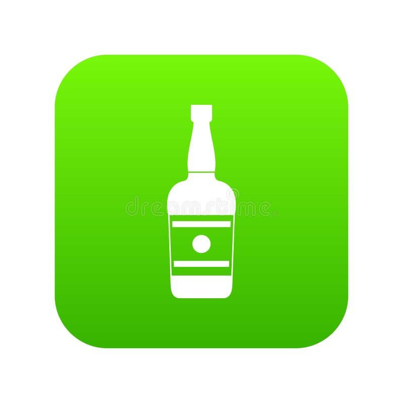 Wine bottle icon green vector. Isolated on white background stock illustration