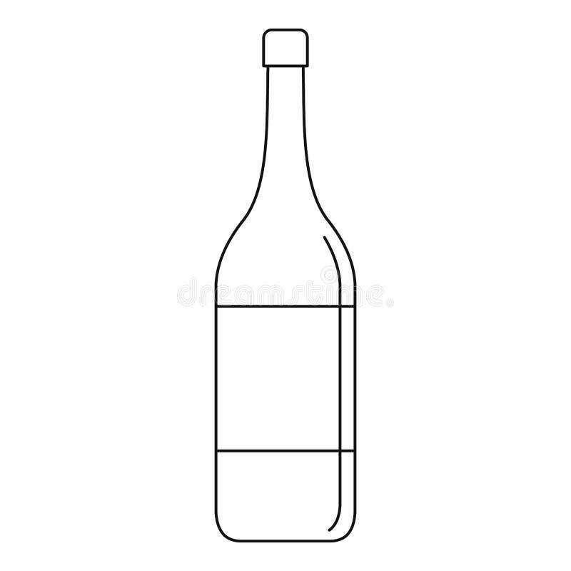 Wine bottle icon, outline style stock illustration