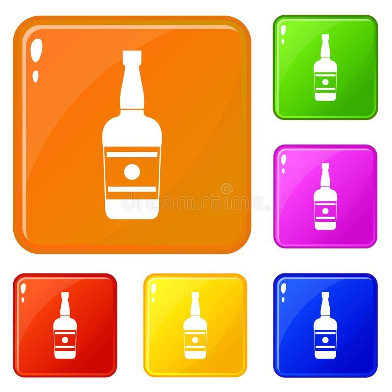 Wine bottle icons set vector color. Wine bottle icons set collection vector 6 color isolated on white background stock illustration