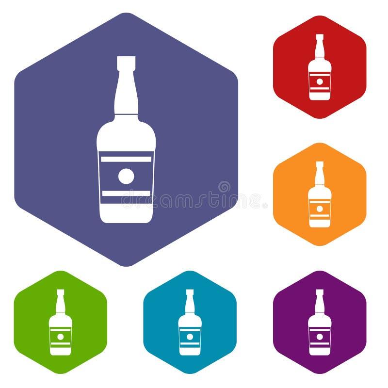 Wine bottle icons vector hexahedron. Wine bottle icons vector colorful hexahedron set collection isolated on white royalty free illustration