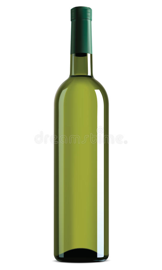Wine bottle isolated. Vector illustration. Wine bottle isolated on white. Vector illustration stock illustration