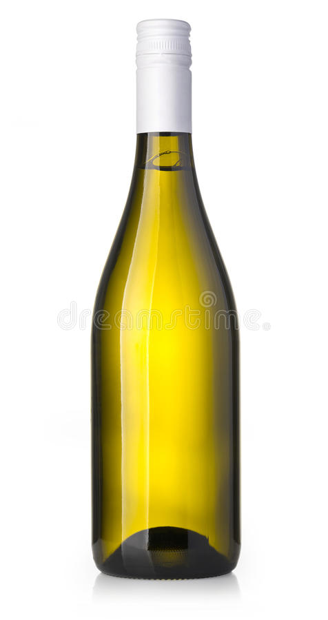 Wine bottle isolated. On white with clipping path stock photos