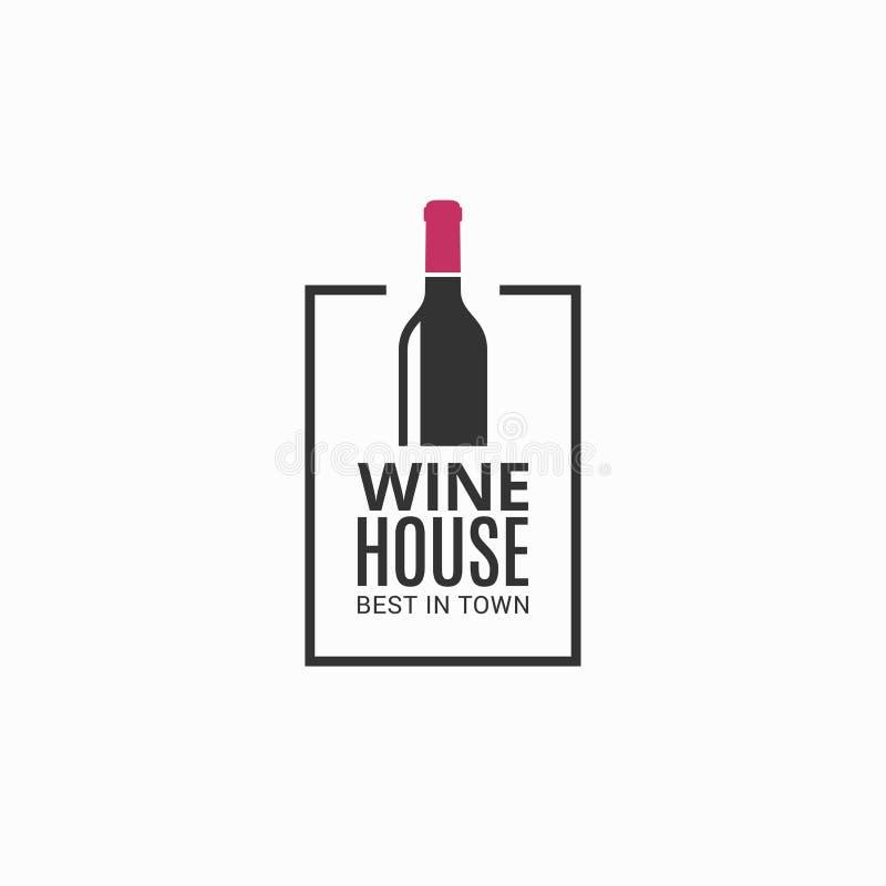 Wine bottle logo. Winehouse icon on black royalty free illustration