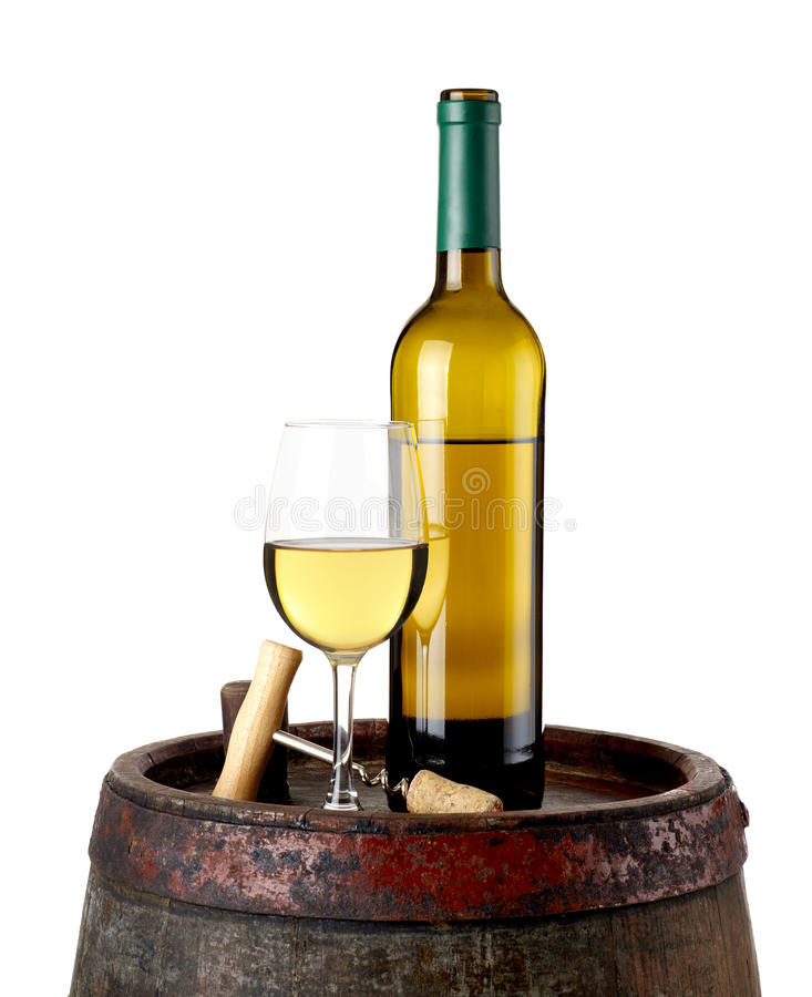 Wine and bottle opener on barrel. Wine glass and bottle on barrel isolated on white royalty free stock photography