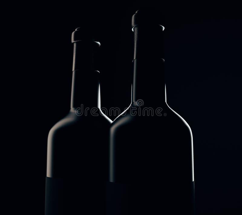 Wine bottle silhouettes. On black background. 3D Rendering royalty free illustration