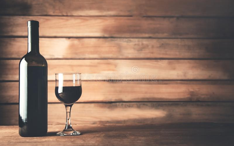 Wine bottle on the table. royalty free stock photos