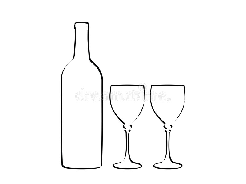 Wine bottle and two glass stock illustration