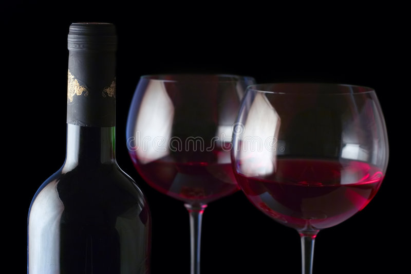 Wine Bottle And Two Glasses Stock Image