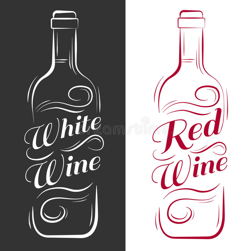 Wine bottle. white wine, red wine. Vintage vector engraving illustration. Advertising design for pub on black background royalty free illustration