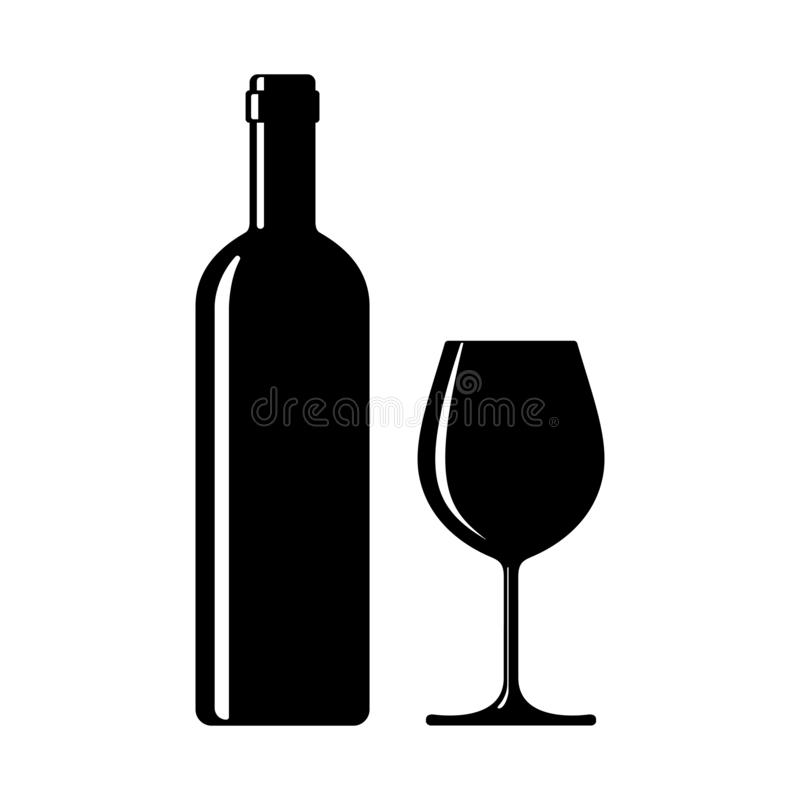 Wine bottle with wine glass. Icon. Symbol wine isolated on white background. Vector illustration royalty free illustration