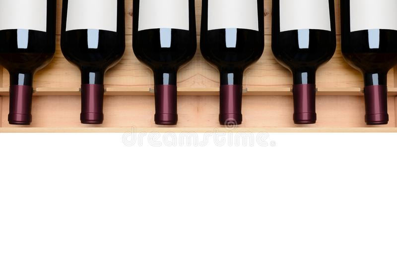 Wine Bottles in Case Blank Labels stock photography