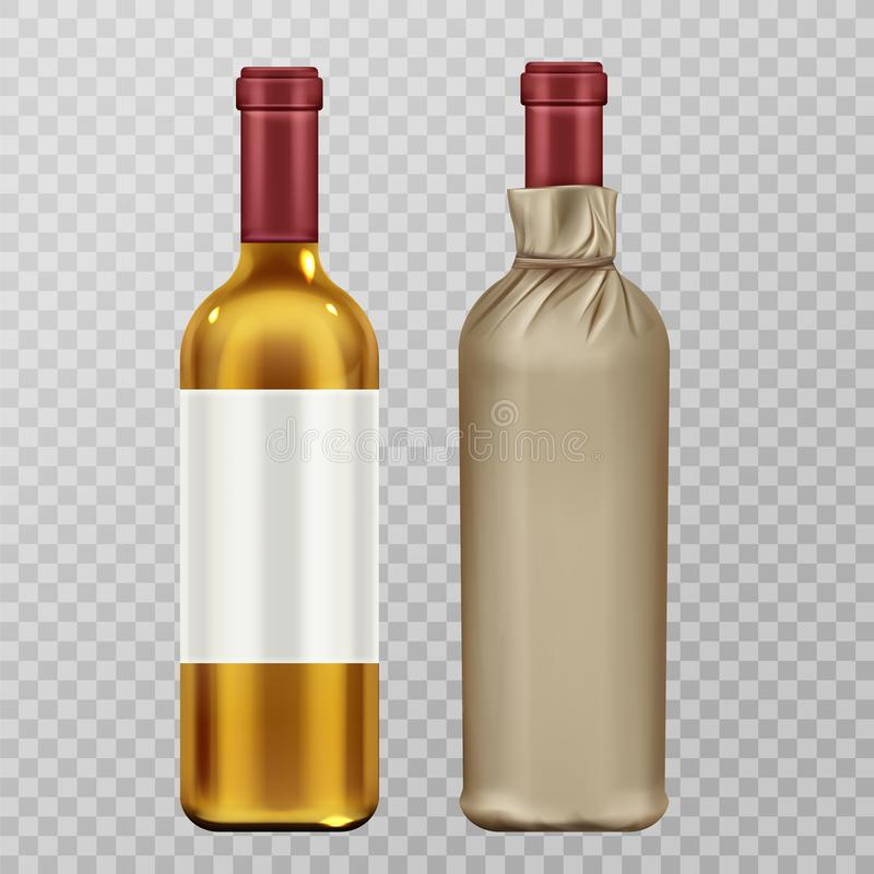 Wine bottles in craft paper package mock up set. Isolated on transparent background. Glass flask with blank label, white vine alcohol drink, design elements royalty free illustration