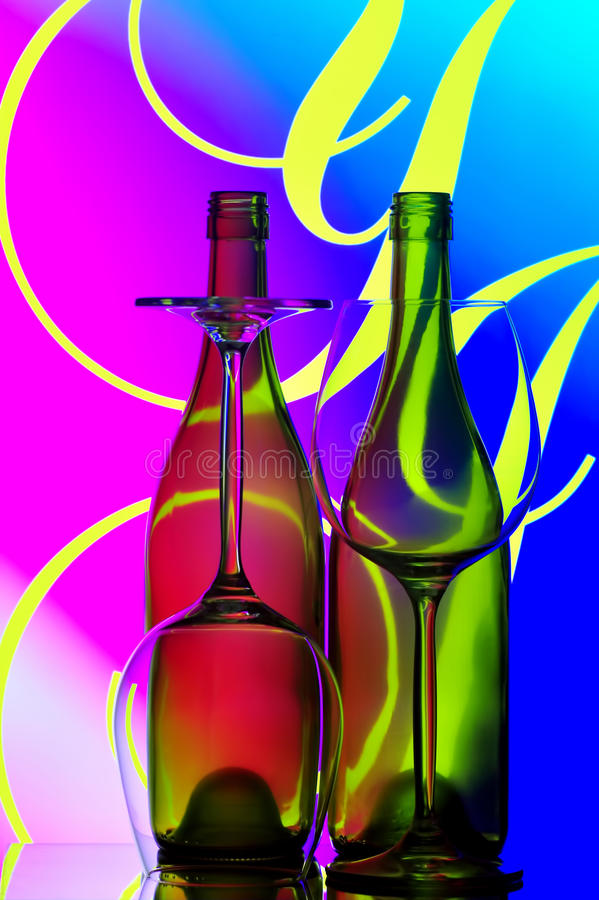 Wine bottles and glasses abstract royalty free stock photos