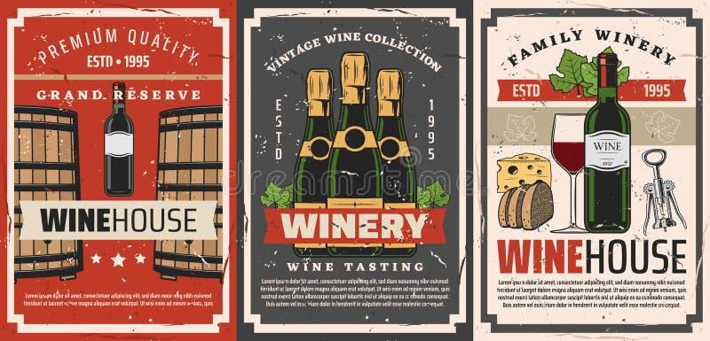 Wine bottles, glasses, barrels and grape vine stock illustration