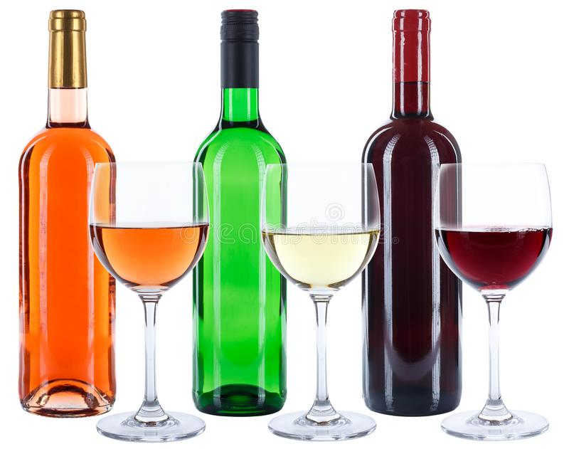 Wine bottles glasses red white rose alcohol isolated royalty free stock photo