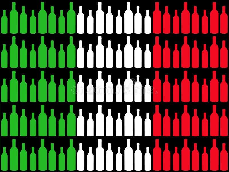 Wine bottles and Italian flag stock illustration