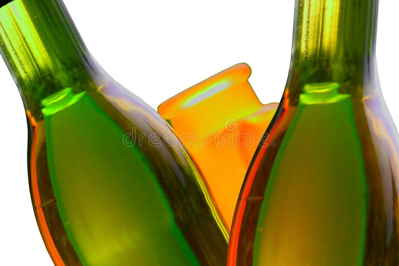 Wine bottles and reflections. Isolated. royalty free stock photos