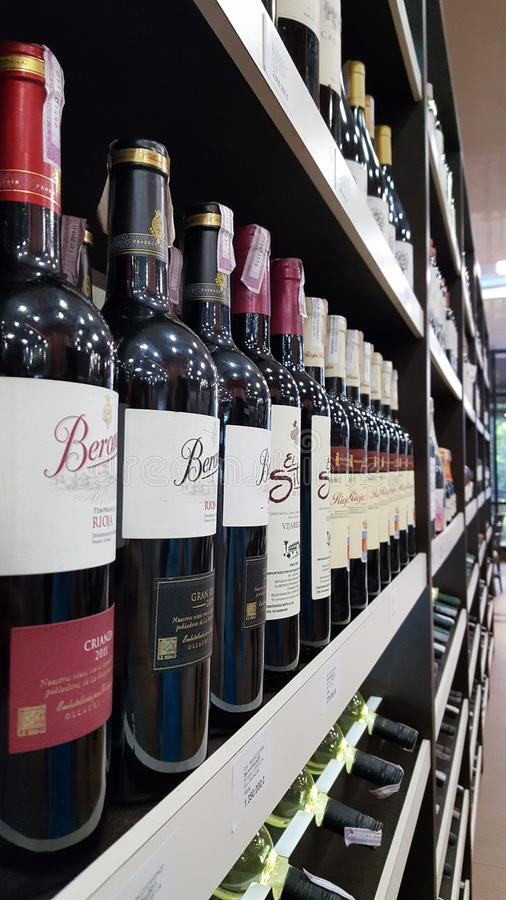 Vine bottles perspective royalty free stock images