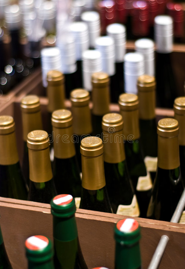 Wine Bottles in a shop stock photo