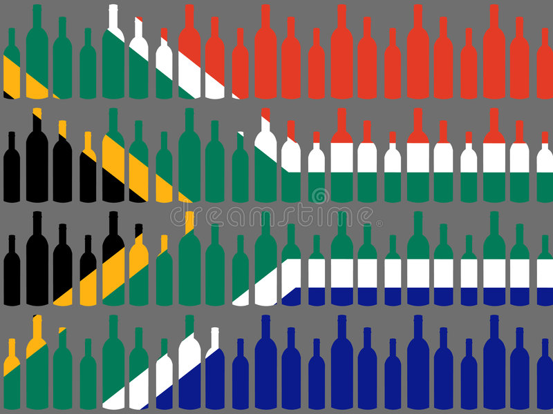 Wine bottles and South African flag royalty free illustration