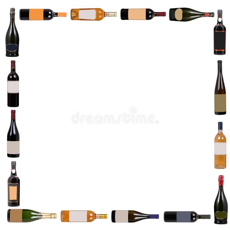 Wine bottles square royalty free illustration