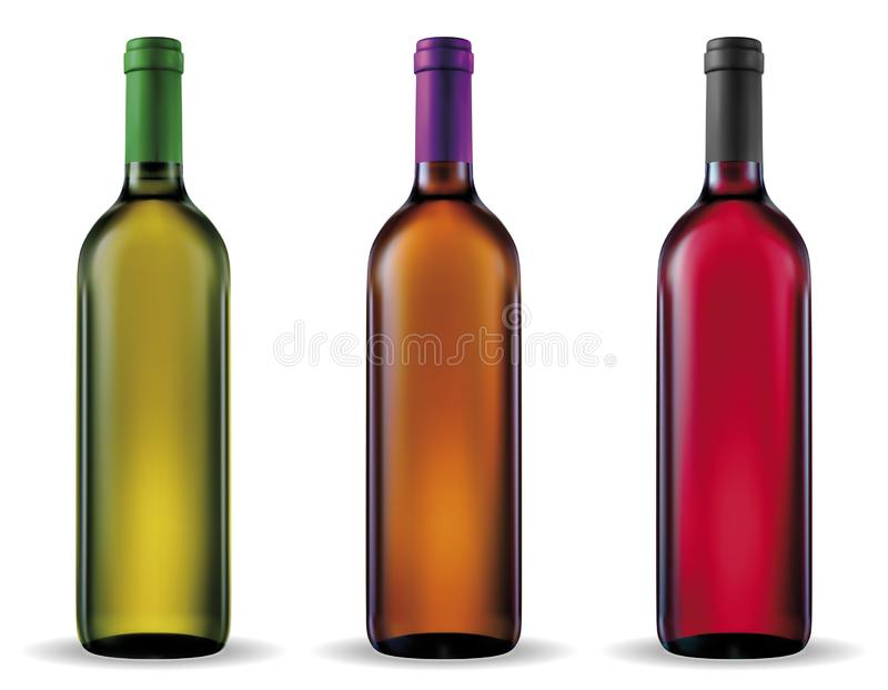 Wine bottles. Vector wine bottle with clear glass and bright content stock illustration