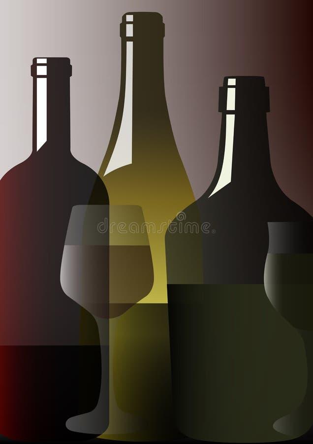 Wine bottles - vector stock illustration