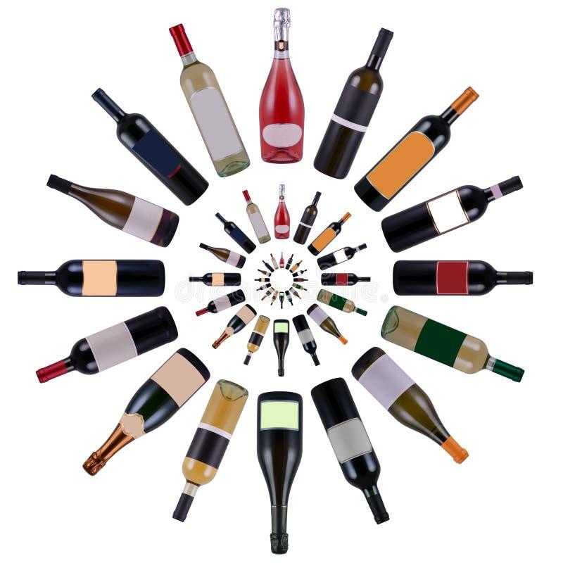 Wine bottles vortex royalty free stock photos