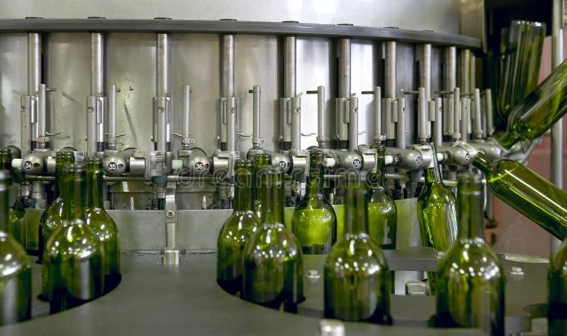 Wine bottling plant. Wine cellar automatic bottling process Spain horizontal stock photo