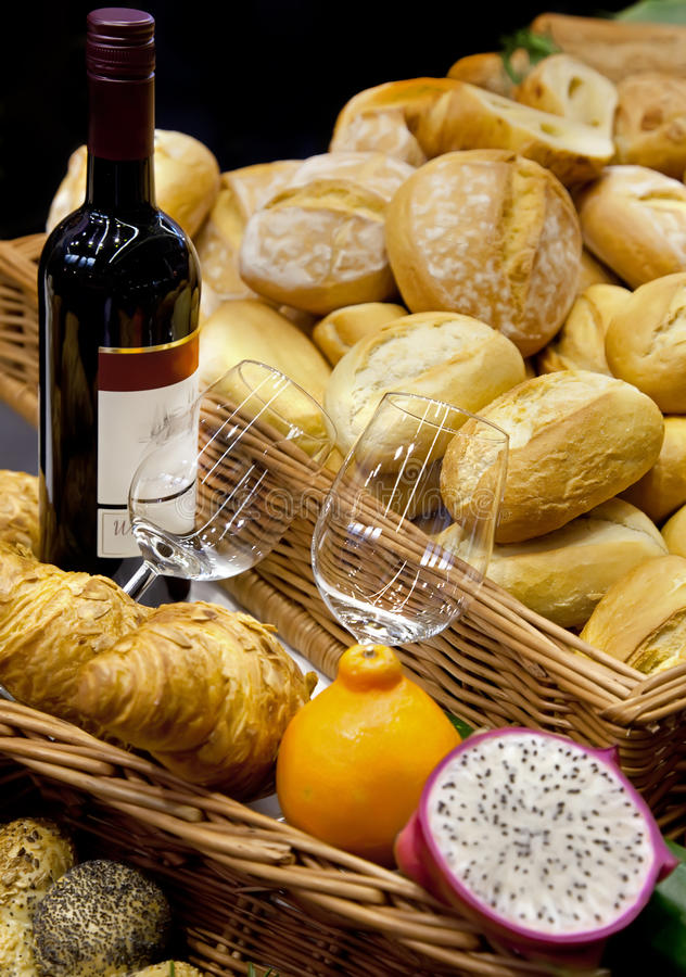 Wine and bread royalty free stock images
