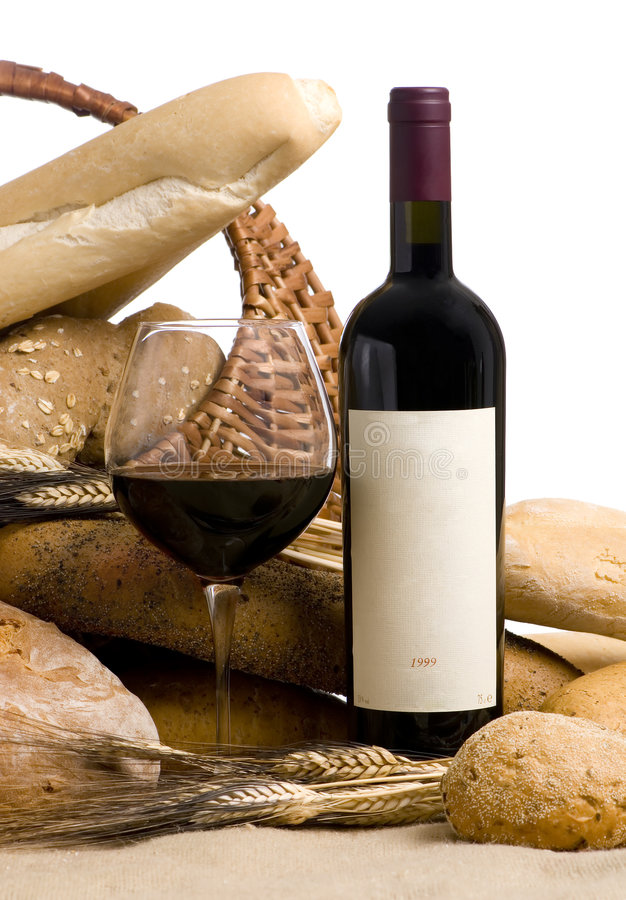 Download Wine With Bread Blank Label Stock Image - Image: 1632731