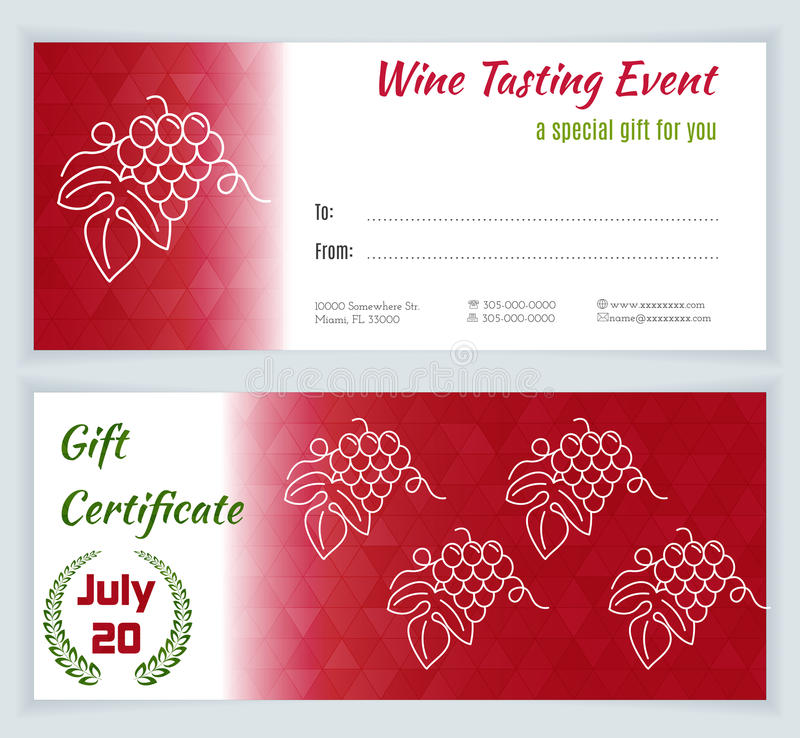 Wine business vector template stock vector illustration of wine tasting event gift certificate with grapes on a white background flat and line style design green and red vector illustration yelopaper Gallery