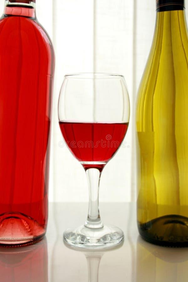 Wine buteljerar med Wineexponeringsglas royaltyfri fotografi