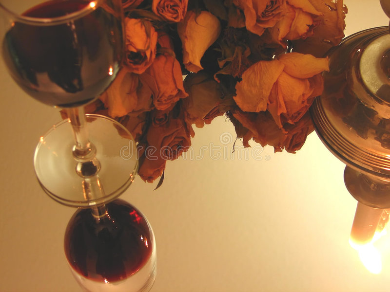 Wine, Candle And Roses Royalty Free Stock Photography