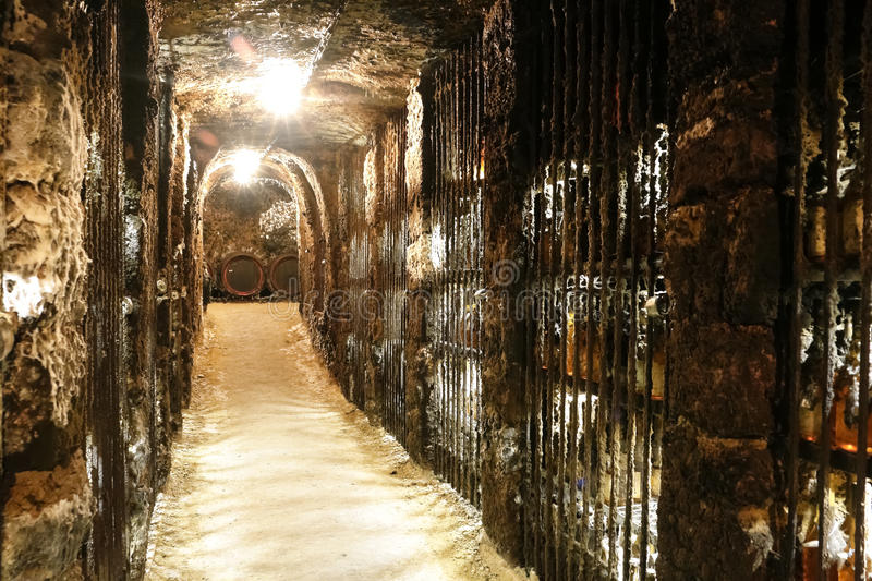 In the wine cave. Old wine caves with archs and barrels in Tokaj valley, Mala Trna, Slovakia royalty free stock photos