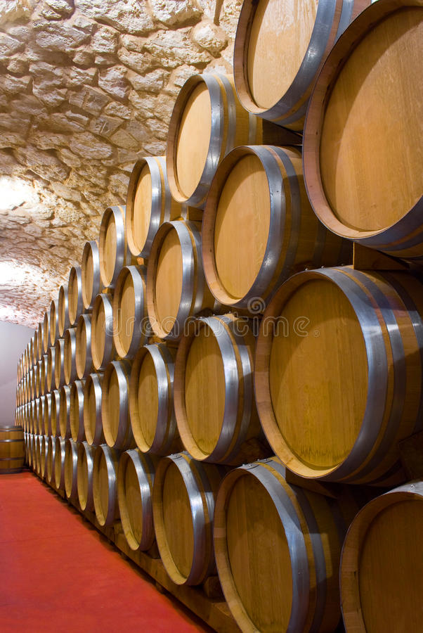 Wine cellar. Interior of a wine cellar with a production of full barrel of wine closed royalty free stock photos