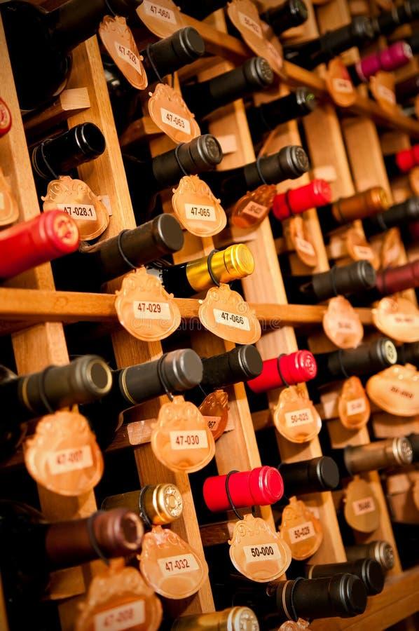 Wine Cellar. Wine Bottles in a wine cellar, narrow depth of field stock photo