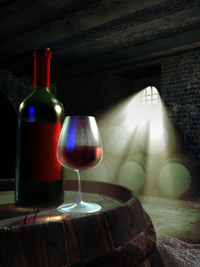 Wine cellar. With light entering through a barred window. Bottle and glass of wine on a barrel stock illustration