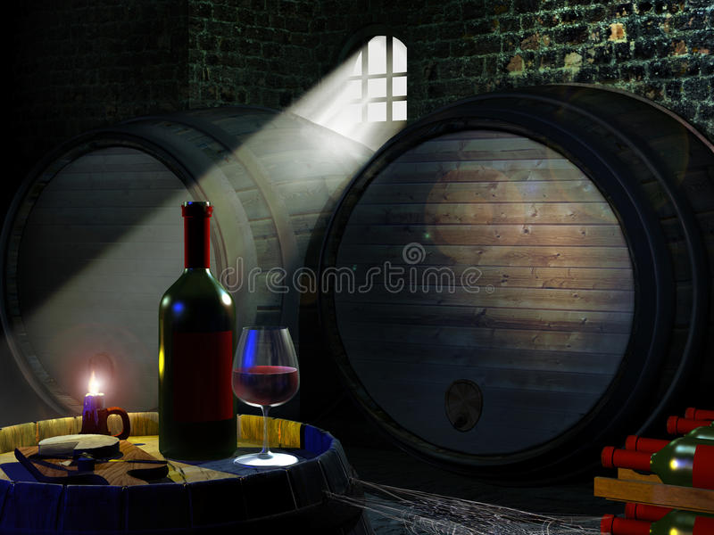 Wine cellar. With light entering through a barred window. Bottle, glass of wine and white french cheese on a barrel vector illustration
