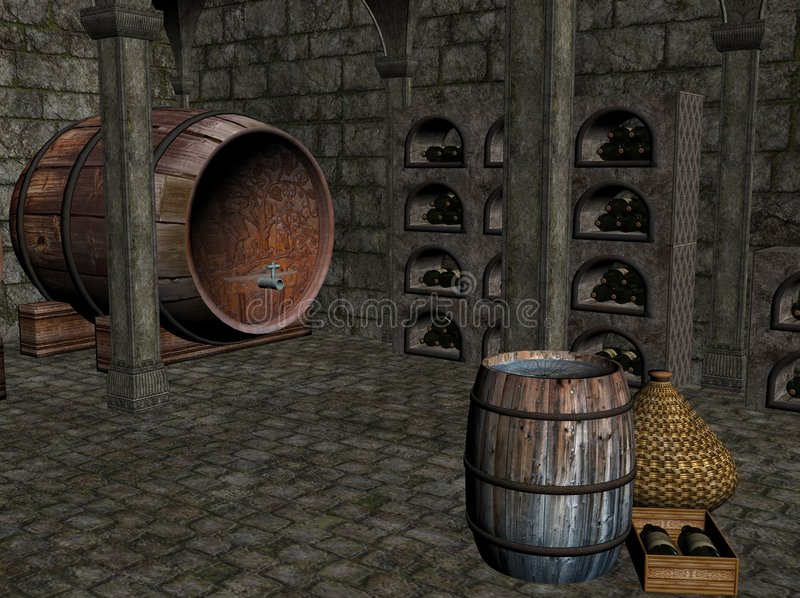 Wine Cellar. A 3D image of a wine cellar with bottles of wine stored in semicircular cavities formed in the cellar walls and also a barrel of wine situated on royalty free illustration