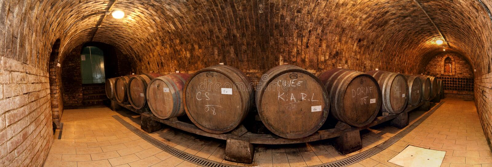 Wine cellar and barrels. A fisheye view of a wine cellar and barrels stock image