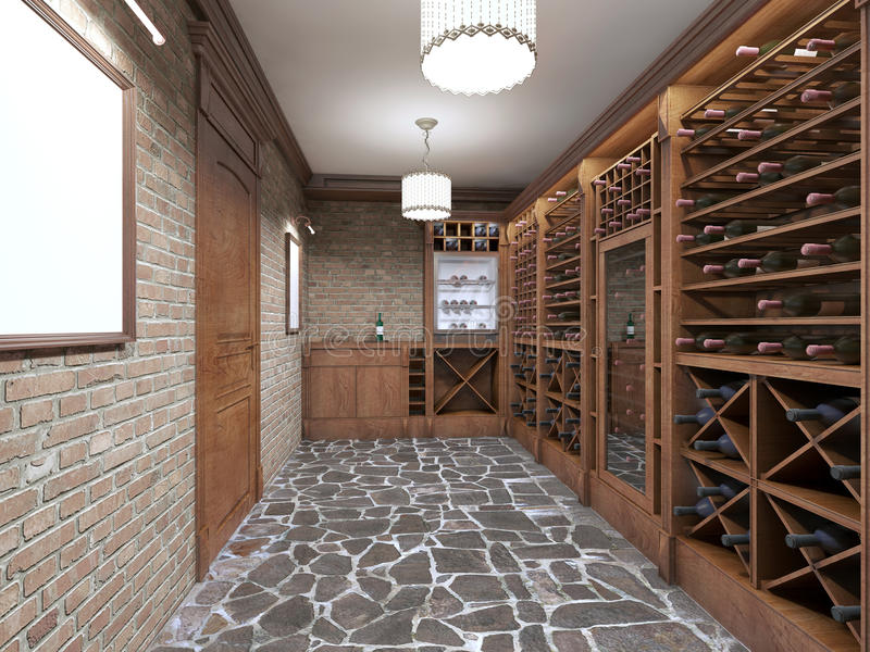Wine cellar in the basement of the house in a rustic style. Open wine racks with bottles. 3D render stock illustration